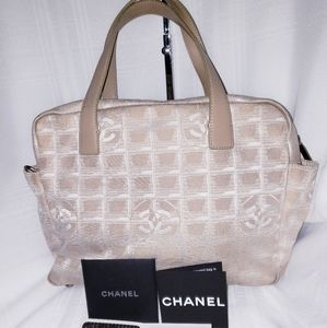 CHANEL AUTH. Vintage CANVAS TOTE HANGBAG